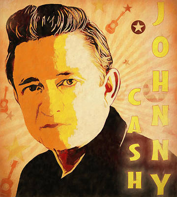 Actors Mixed Media - Johnny Cash Poster  by Dan Sproul