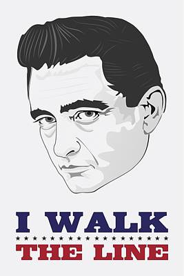 Painting - Johnny Cash Poster Print Quote - I Walk The Line - The Man In Black by Beautify My Walls