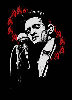 Johnny Cash Painting - Johnny Cash Ring Of Fire T Shirt Print by Melissa O'Brien