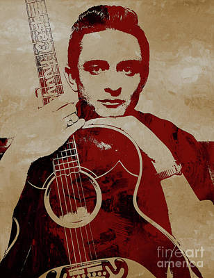 Painting - Johnny Cash The Legend by Gull G