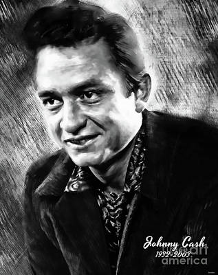 Painting - Johnny Cash by Tina LeCour