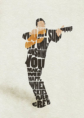 Painting - Johnny Cash Typography Art by Inspirowl Design