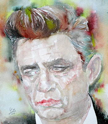 Painting - Johnny Cash - Watercolor Portrait.2 by Fabrizio Cassetta