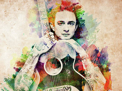 Digital Art - Johnny Cash With Guitar by Mihaela Pater