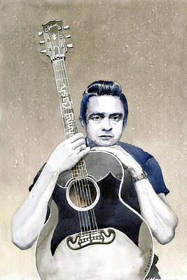 Gibson Painting - Johnny Cash by Yuriy  Shevchuk