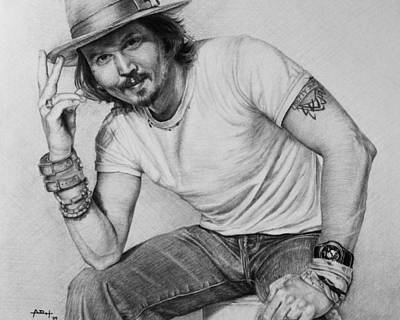 People Drawing - Johnny Depp by Angela Hannah