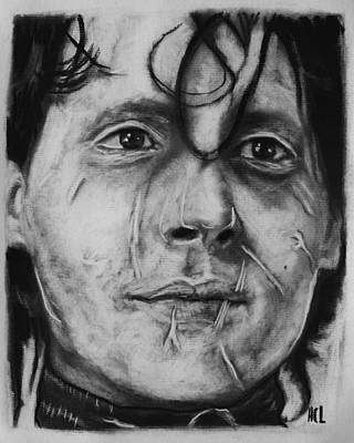 Edward Scissor Hands Drawing - Johnny Depp As Edward Scissor Hands by Harrison Larsen