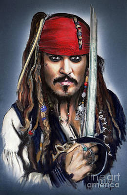 Actors Mixed Media - Johnny Depp As Jack Sparrow by Melanie D