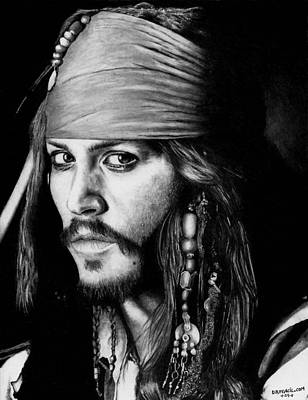 Drawing - Johnny Depp As Jack Sparrow by Rick Fortson