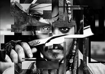 Celebrities Photograph - Johnny Depp - Collage Art Abstract - Black And White by Prar Kulasekara