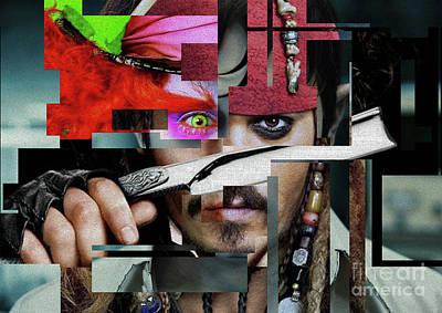 Actors Photograph - Johnny Depp - Collage Art Matt by Prar Kulasekara