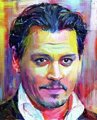 Johnny Depp Digital Art - Johnny Depp Colors Portrait by Yury Malkov