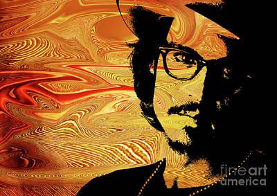 Wood Necklace Digital Art - Johnny Depp.   by Prar Kulasekara
