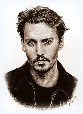 Movie Stars Drawings Drawing - Johnny Depp Sepia by Andrew Read