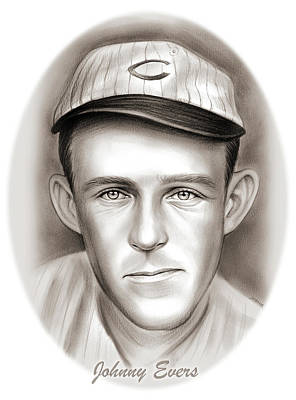 Baseball. Philadelphia Phillies Drawing - Johnny Evers by Greg Joens