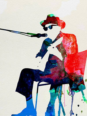 Jazz Mixed Media - Johnny Lee Hooker Watercolor by Naxart Studio