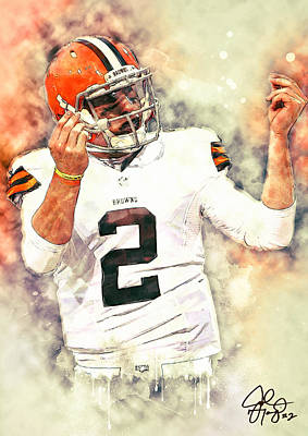 Cafes Painting - Johnny Manziel by Taylan Apukovska