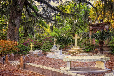 Benches Photograph - Johnny Mercer Grave by Joan Carroll