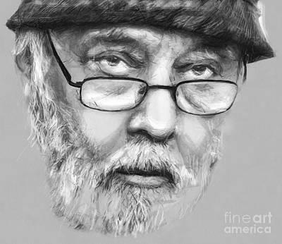 Musicians Drawings - Johnny Raducanu Mr Jazz of Romania by Daliana Pacuraru