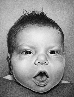 Drawing - Johnny Three Days Old by Donna Basile