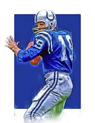 Mixed Media - Johnny Unitas Baltimore Colts Oil Art by Joe Hamilton