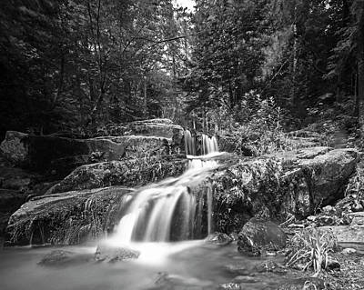 Photograph - Johns Brook Trail Big Slide Mountain Keen Valley Ny Waterfall Black And White by Toby McGuire