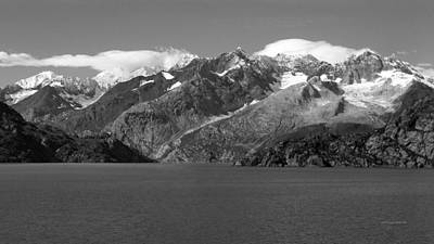 Photograph - Johns Hopkins Glacier Bw, Glacier Bay Seascapes 16x9 by Connie Fox