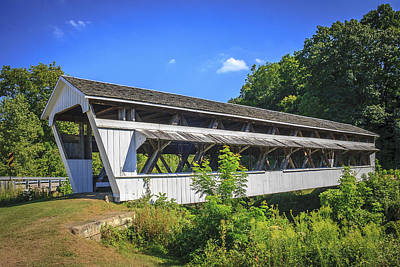Photograph - Johnson Covered Bridge by Jack R Perry