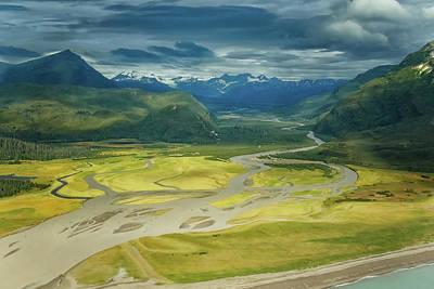 Airscape Photograph - Johnson River Lake Clark by Sylvia J Zarco