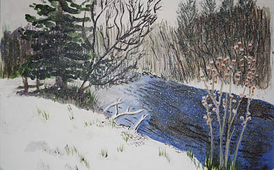 Art Print featuring the painting Johnson Vermont In Spring Snow Storm by Donna Walsh