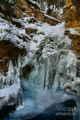 Photograph - Johnston Canyon Frozen Lower Waterfall by Adam Jewell