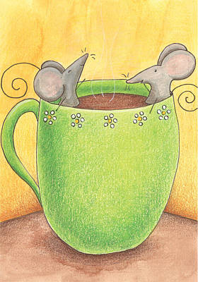 Mice Drawing - Join Me In A Cup Of Coffee by Christy Beckwith
