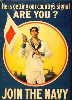 World War One Mixed Media - Join The Navy by Otis Porritt