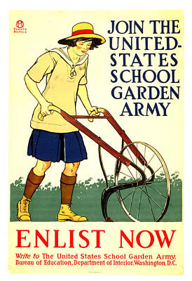 Mixed Media - Join The United States School Garden Army - Vintage Advertising Poster by Studio Grafiikka