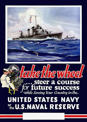 Join The Us Navy - Ww2 Art Print by War Is Hell Store