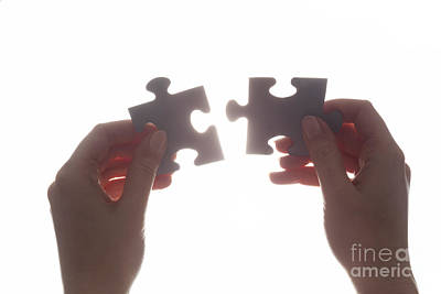Match Photograph - Joining Two Pieces Of Jigsaw Puzzle by Michal Bednarek
