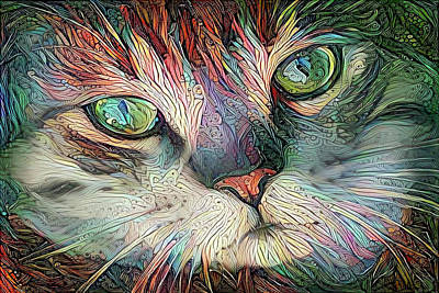 Digital Art - Jojo The Colorful Tabby Cat by Peggy Collins
