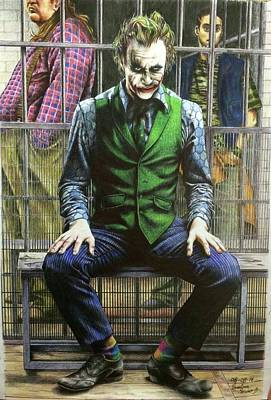 Heath Ledger Wall Art - Drawing - Joker by Carola Moreno