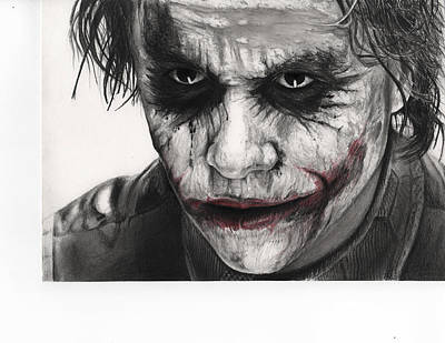 Heath Ledger Drawing - Joker Face by James Holko