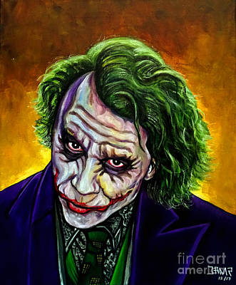 Heath Ledger Wall Art - Painting - Joker Heath Ledger by Jose Mendez