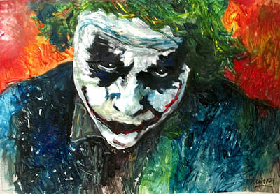 Heath Ledger Wall Art - Painting - Joker - Heath Ledger by Marcelo Neira