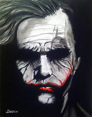 Heath Ledger Wall Art - Painting - Joker by John Svedese
