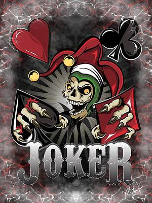Painting - Joker Poker Skull by Raphael Lopez