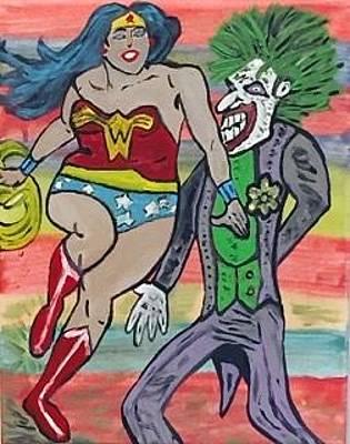 Painting - Joker Vs Wonder Woman. by Jonathon Hansen