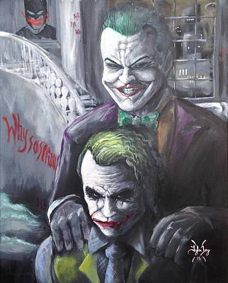 Heath Ledger Wall Art - Painting - Jokery In Wayne Manor by Tyler Haddox