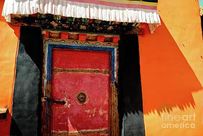Roadblock Photograph - Jokhang Temple Door Lhasa  Tibet Artmif.lv by Raimond Klavins