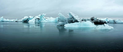 Print featuring the photograph Jokulsarlon Glacier Lagoon Panorama by Brad Scott