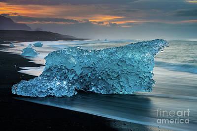 Abstract Shapes Janice Austin - Jokulsarlon Massive Beach Ice Sunrise by Mike Reid