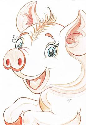 Jolly Miss Piggy Art Print by Teresa White