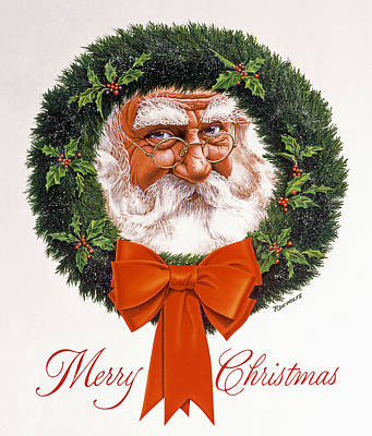 Wreath Painting - Jolly Old Saint Nick by Richard De Wolfe